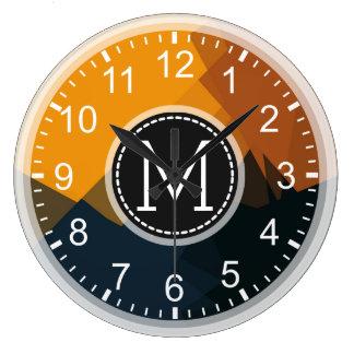Monogram Mosaic Modern Pop Yellow Black Large Clock
