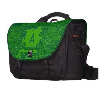 monogram motherboard computer circuit - dark green laptop computer bag
