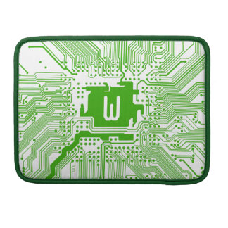 monogram motherboard computer circuit green white sleeve for MacBooks