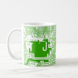 monogram motherboard computer circuit mug - green