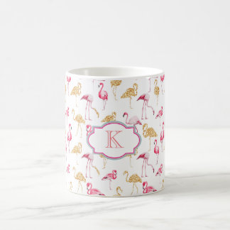 Monogram mug. Flamingo print. Coffee Mug