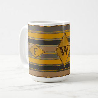 Monogram Mug - Masculine - Shades of Brown/Gold