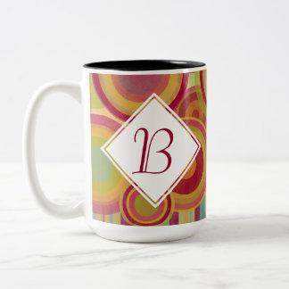 Monogram Mug with Bright, Colorful Rings & Circles