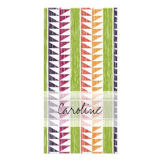 Monogram Multicolor Geometric Ikat Stripes Pattern Custom Photo Card