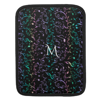 Monogram Music Notes On Black Or Your Colour iPad Sleeve