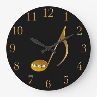 Monogram Musical Note | Black Gold Music Dancers Large Clock
