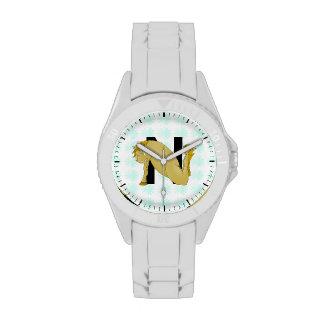 Monogram N Cartoon Horse Personalised Wristwatches