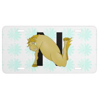 Monogram N Cartoon Pony Personalised License Plate