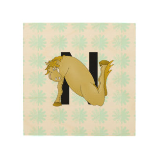 Monogram N Cartoon Pony Personalised Wood Prints