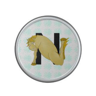 Monogram N Funny Pony Personalised Speaker