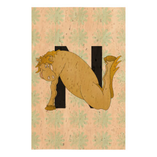 Monogram N Funny Pony Personalised Queork Photo Print