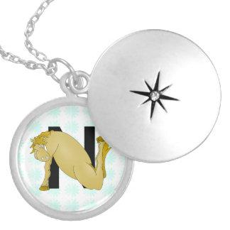 Monogram N Funny Pony Personalised Round Locket Necklace