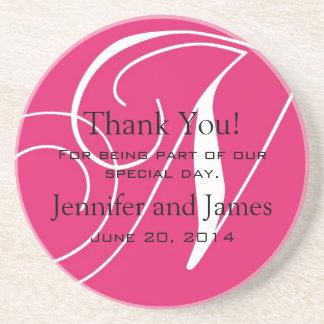 Monogram N Pink White Wedding Favour Coasters