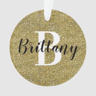 Monogram Name Christmas Holiday | Gold Glitter Ornament