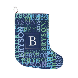 Monogram Name Cloud Blue and Green Large Christmas Stocking