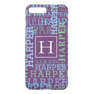 Monogram Name Cloud Purple Colored iPhone 8 Plus/7 Plus Case