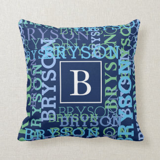 Monogram Name Cluster Blue Cushion