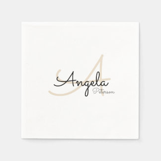 monogram (name + initial) on white standard disposable serviettes
