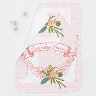Monogram Name Peachy Pink Garland Lil' Lady Floral Buggy Blanket