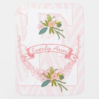 Monogram Name Peachy Pink Garland Zigzag Floral Baby Blanket