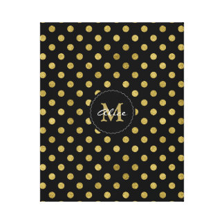 Monogram & Name   Polka Dots Gold Canvas Print