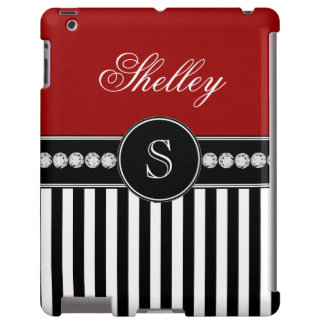 Monogram Name Red Black Stripes Pattern