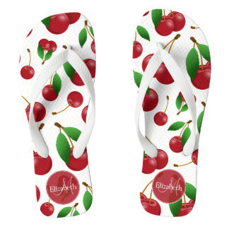 monogram name sweet red cherries patterned thongs