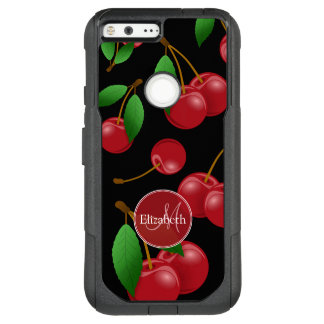 monogram name sweet summertime cherries patterned OtterBox commuter google pixel XL case