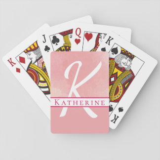 Monogram Name Watercolor Pink Playing Cards