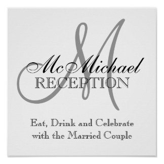 Monogram Name Wedding Reception Signs Poster