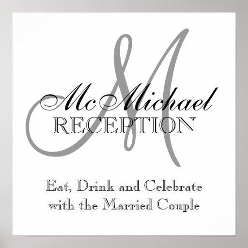 Monogram Name Wedding Reception Signs Poster