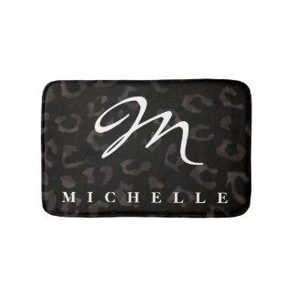 Monogram named personalized black panther bath mat