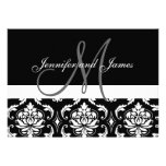 Monogram Names Black Damask Wedding Invitations