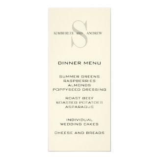 Monogram Names Cream Wedding Menu Card 10 Cm X 24 Cm Invitation Card