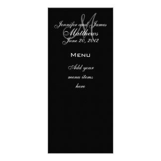 Monogram Names Date Wedding Menu Cards Full Color Rack Card