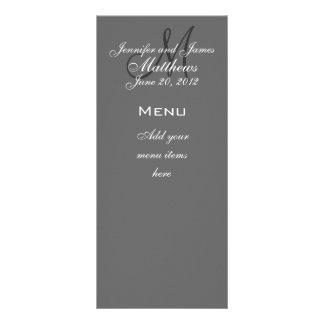 Monogram Names Date Wedding Menu Cards Grey Personalised Rack Card