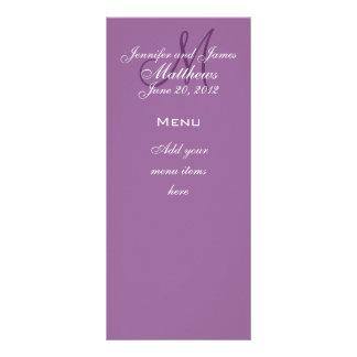 Monogram Names Date Wedding Menu Cards Purple Personalized Rack Card