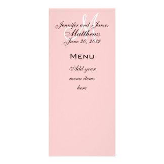 Monogram Names Date Wedding Menu Cards Soft Pink Personalised Rack Card