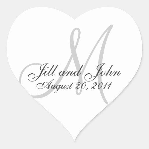 Monogram Names Date Wedding Seal Stickers