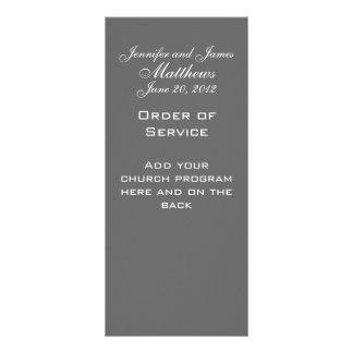 Monogram Names Date Wedding Service Church Program Custom Rack Card