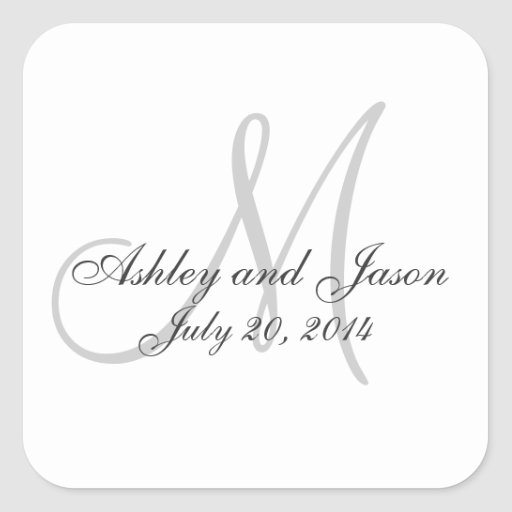 Monogram Names Wedding Favor Sticker Template