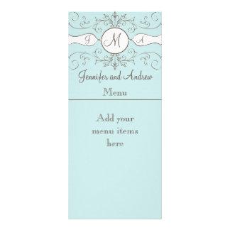 Monogram Names Wedding Menu Cards Blue Customised Rack Card