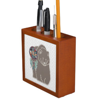 Monogram Native American Animal Spirit Bear Desk Organiser