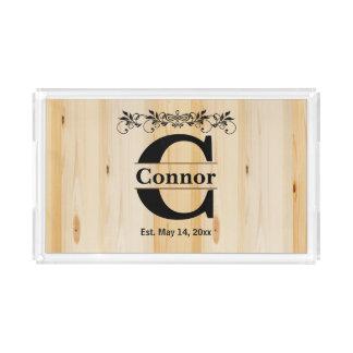 Monogram Natural Wood Design Acrylic Tray