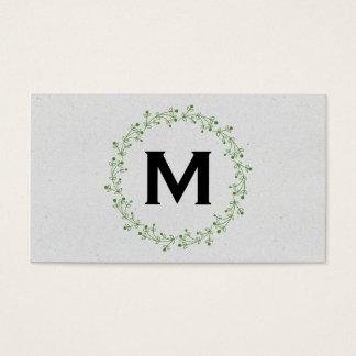 Monogram / Natural / Wreath II Business Card