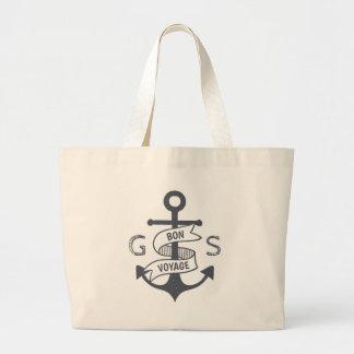 Monogram. Nautical. Anchor. Bon Voyage. Large Tote Bag