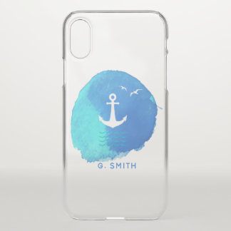 Monogram. Nautical Anchor in Blue Watercolor. iPhone X Case