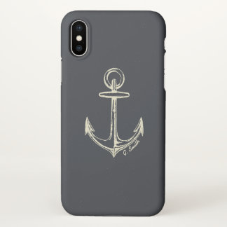 Monogram. Nautical. Anchor. iPhone X Case