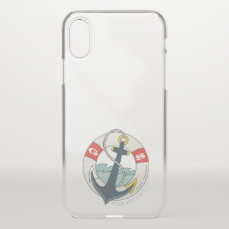 Monogram. Nautical Anchor Tattoo. iPhone X Case