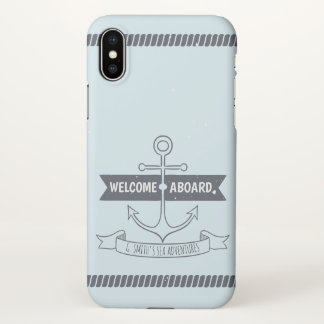 Monogram. Nautical Anchor. Welcome Aboard. iPhone X Case